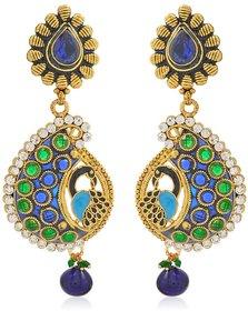 Jewels Guru Exclusive Peacock Design Inspired Multicolor Earrings