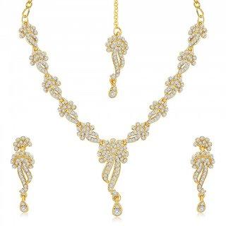 Sukkhi Beguiling Gold Plated Australian Diamond Stone Studded Necklace Set