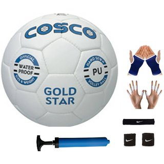 Cosco Gold Star Volleyball with Black Headband Air Pump Free Pair of Wrist Band Palm Support Finger Support