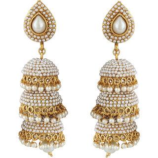 Styylo Jewels Golden White Jhumki Earrings