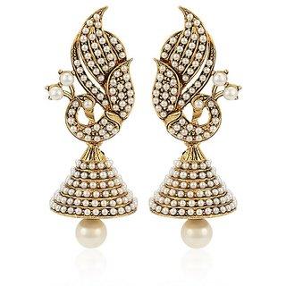 Jewels Guru Exclusive Golden Pearl Studded Peacock Design Inspired Jhumki Earrings