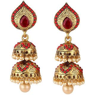 Styylo Jewels Golden Red Jhumki Earrings