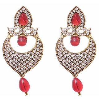 Jewels Guru Exclusive Golden White Red Multi Colour Earrings.  m-451