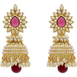 Jewels Guru Exclusive Golden White Pink Multi Colour Earrings.  m-453