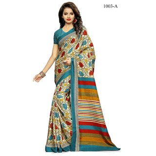 S V Inc Multicolor Crepe Printed Saree With Blouse