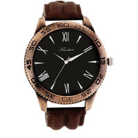 Timebre Round Dial Brown Leather Strap Quartz Watch For