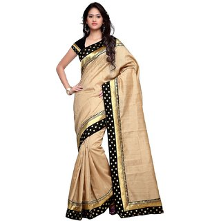 Vistaar Creation Beige Bhagalpuri Silk Lace Saree With Blouse