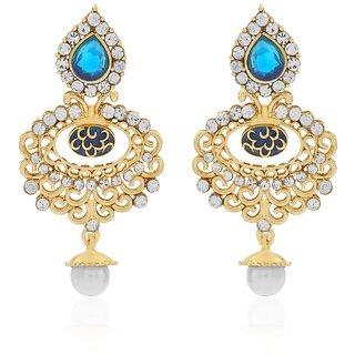 Jewels Guru Exclusive Golden White Blue Multi Colour  Earrings.  m-464