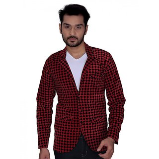 Trustedsnap Velvet Checks Party Blazer For Men (Red)