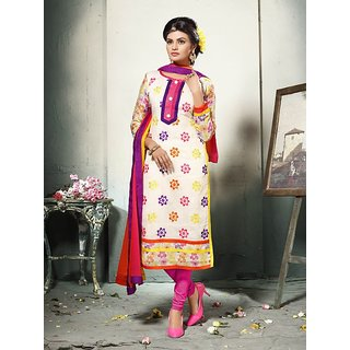 Womaniya Online Off White Embroidered Cotton Dress Mateirial (Unstitched)