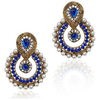 Jewels Guru Exclusive Golden White Blue Multi Colour  Earrings.  m-467