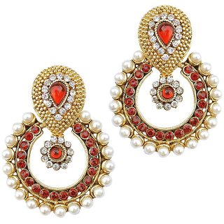 Jewels Guru Exclusive Golden White Maroon Multi Colour Earrings.  m-470