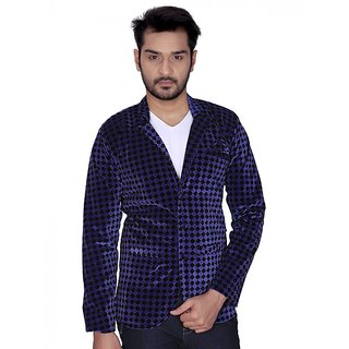 Trustedsnap Velvet Checks Blazer For Men (Blue)