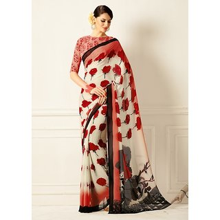 Vistaar Creation Red Georgette Floral Saree With Blouse