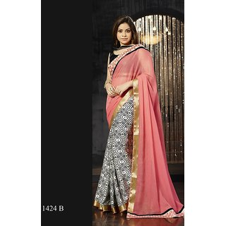 Vistaar Creation Peach Chiffon Self Design Saree With Blouse