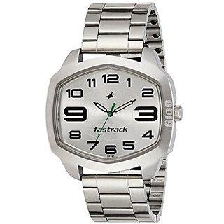 Fastrack Analog Silver Tonneau Watch -3119SM03
