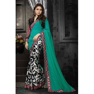 Vistaar Creation Multicolor Satin Lace Saree With Blouse
