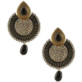 Jewels Guru Exclusive Golden White Black Multi Colour Earrings.  m-472