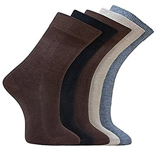 Men's Cotton Full Length Plain Formal Socks For Men - Pack of 5 Pairs