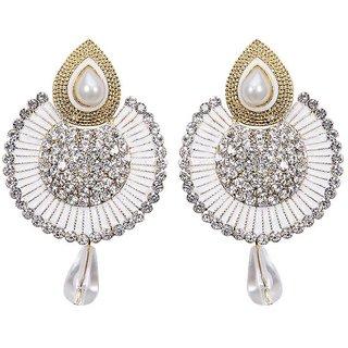 Jewels Guru Exclusive Golden White Earrings.  m-473