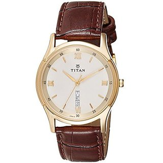 Titan Quartz Gold Dial Mens Watch-1636YL02