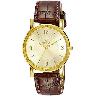 Titan Quartz Gold Dial Mens Watch-1639YL03