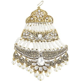 9blings Muslim Bridal Filigree Pearl Kundan Long Jhoomar Passa Hair Accessories