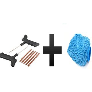 s4d Tyre Puncture Repair Kit and free microfiber hand glove one pc colour assorted 01