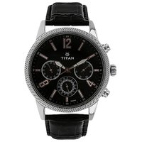 Titan Round Dial Black  Strap Quartz Watch For Men