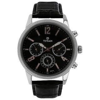 Titan Round Dial Black  Strap Quartz Watch for Men