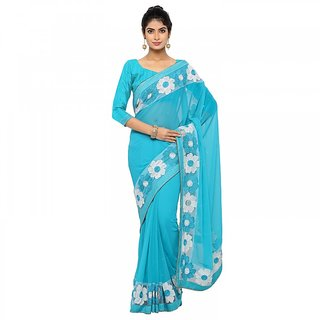 Vistaar Creation Sky Blue Georgette Embroidered Saree With Blouse