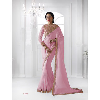 Vistaar Creation Pink Georgette Self Design Saree With Blouse