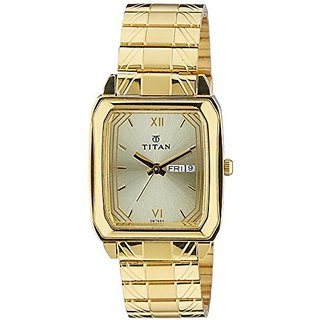 Titan Analog Gold Rectangle Watch -1581YM05