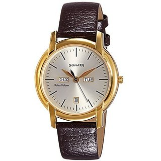 Sonata Analog White Round Watch -7954YL06