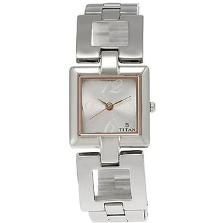 Titan Analog Silver Square Watch -2484SM01