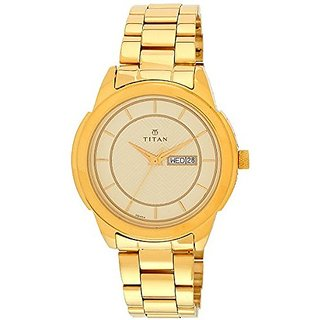 Titan Quartz Gold Dial Mens Watch-1585YM01