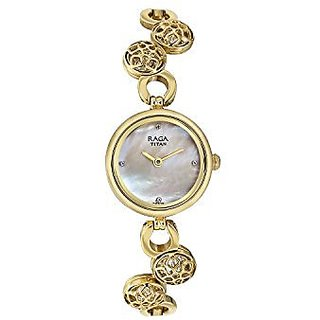 TITAN RAGA MOONLIGHT MOP DIAL GOLD STRAP ANALOG WATCH FOR WOMEN-311YM15