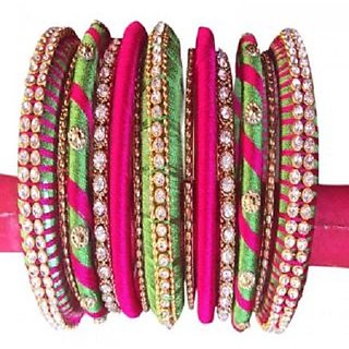 Colorful Trendz Handmade Multicolor Silkthread Bangles for Women