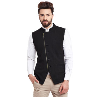 Hypernation Solid Men's Black colored and Side Zipper and button Waistcoat