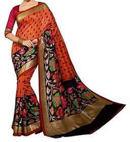 Nuteez Multicolor Art Silk Embroidered Saree With Blouse