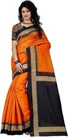 Nuteez Multicolor Banarasi Silk Geometric Saree With Blouse