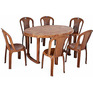 Nilkamal Dining Table Set 1+6 (Pear Wood) By Homegenic