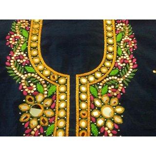 Suits Dress Material Chanderi Cotton fabric Women ethnic wear with hand work Pure Chiffon dupatta  Santoon Bottom 2.8 m (Unstitched)