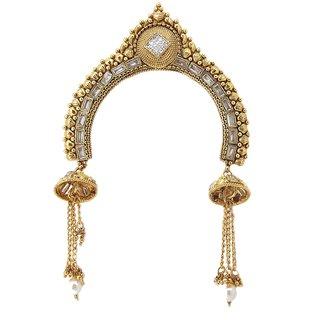 Biyu Bridal Collection Rhinestone Pearl Gold Plated Copper Bun Pin Juda Pin Hair Accessories