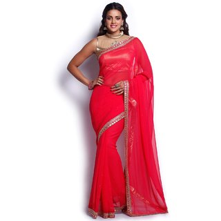 916921396ee Buy Soch Coral and Gold Georgette Saree Online   ₹3749 from ShopClues