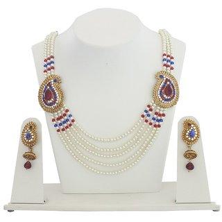 Jewels Guru Exclusive Golden Blue White Maroon Multi Colour Necklace Set.M-492