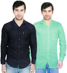 Knight Riders Plain Navy Light Green Casual Slimfit linen Shirts Pack of 2