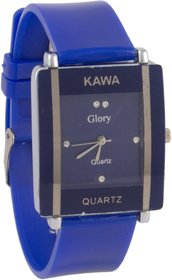 Glory Kawa Dark Blue Color With Rectangular Crystal Studded Dial Watch For Women by 7star