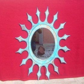 Wooden MDF Large Wall Blue Sunburst Mirror Frame