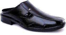Manav Mens Black Open Sandals